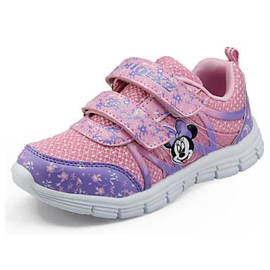 Pige Sneakers Komfort Tyl Forår Efterår Afslappet Gang Komfort Magisk tape Flad hæl Lilla Rød Blå Lys pink Marineblå Flad