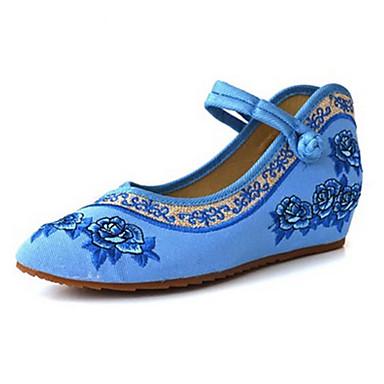 Damen Schuhe Leinwand Frühling Sommer Bestickte Schuhe Mary Jane Komfort Flache Schuhe Walking Flacher Absatz Schnalle Blume für Normal