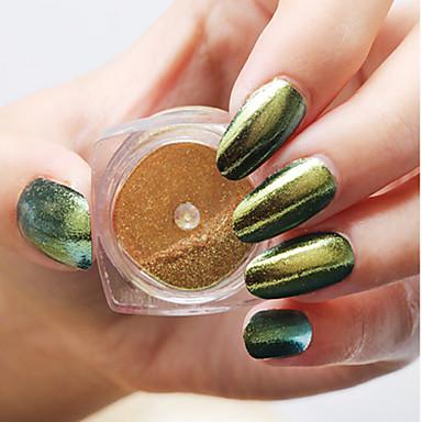 1pc nail art de magische spiegel poeder de laser de kameleon fijne poeder de spiegel het effect klassieke 6-kleuren
