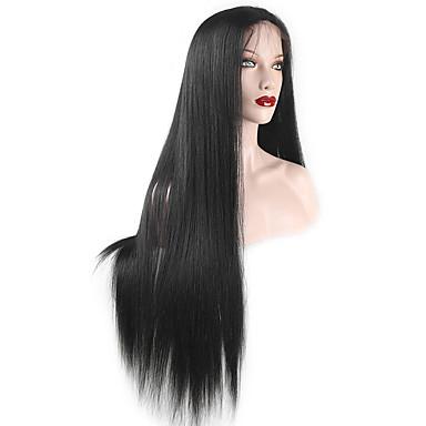 Menneskehår Lace Paryk Ret Blonde Front 100 % håndbundet Afro-amerikansk paryk Natural Hairline 130% Massefylde Sort Mørkebrun Kort