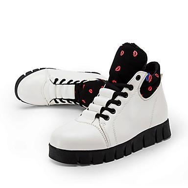 Støvler-Kunstlæder-Komfort Flade balletsko Ankelstøvler Modestøvler-Dame-Sort Rød Hvid-Udendørs Fritid Fest/aften-Kilehæl