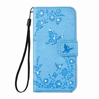 Hülle Für Apple iPhone 6 iPhone 6 Plus Kreditkartenfächer Geldbeutel Strass mit Halterung Ganzkörper-Gehäuse Schmetterling Hart PU-Leder
