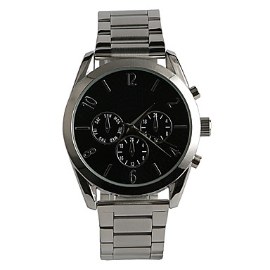 Masculino Relógio de Moda Quartzo Impermeável Aço Inoxidável Banda Casual Prata Prata