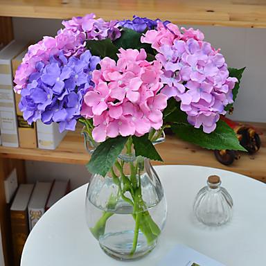 1 1 Afdeling Polyester / Plastik Hortensiaer Bordblomst Kunstige blomster 18.1inch/46cm