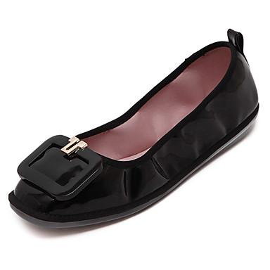 Dame-PU-Flat hælFlate sko-Friluft Kontor og arbeid Fritid-Svart Rød Mandel