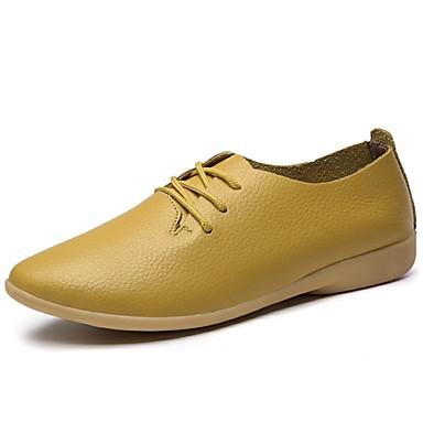 Damen Schuhe Leder Frühling Sommer Herbst Komfort Flache Schuhe Walking Flacher Absatz Schnürsenkel für Normal Weiß Schwarz Orange Gelb