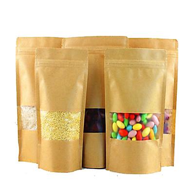 multi-size high-end drie-berijpte venster papieren zakken dikke afdichting zakken voedsel een pakje van tien zakken van koekjes