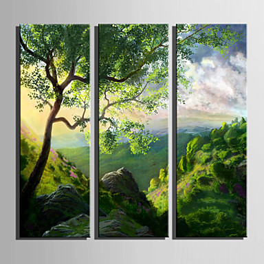 Canvas Set Landskap Europeisk Stil,Tre Paneler Lerret Vertikal Print Art Wall Decor For Hjem Dekor