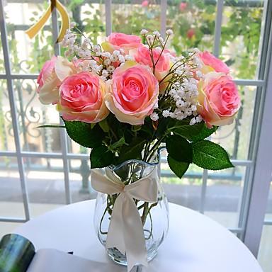 1 1 Ast Polyester / Kunststoff Rosen Tisch-Blumen Künstliche Blumen 24.8inch/63cm