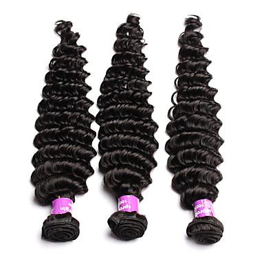 Peruviansk hår Menneskehår Vevet Dyp Bølge Krøllete Weave Hårforlengelse 3 deler Svart