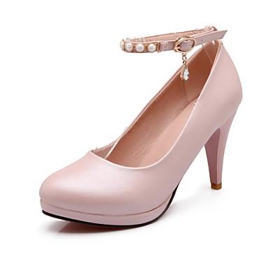 Mulheres Sapatos Couro Ecológico Verão Outono Saltos Salto Cone Presilha para Casual Escritório e Carreira Branco Preto Rosa claro