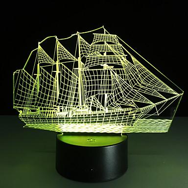 1 stk 3D nattlys Usb Mangefarget Glass ABS 1 Lampe Ingen Batterier Inkludert