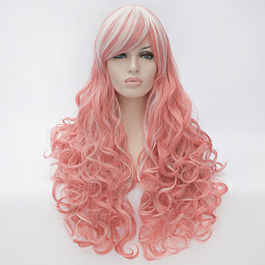 Synthetische Perücken Rosa Synthetische Haare Rosa Perücke Damen Sehr lang Kappenlos Rosa