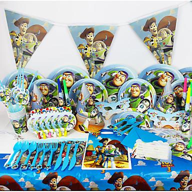brinquedo de luxo festa de aniversário história 78pcs decorações miúdos evnent fontes do partido decoração do partido 6 pessoas usam