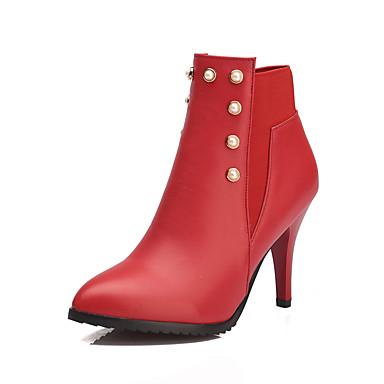 Damen-Stiefel-Outddor Büro Lässig-Kunstleder-Stöckelabsatz-Modische Stiefel-Schwarz Rot