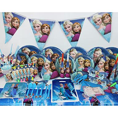 luksus frosne 78pcs fødselsdagsfest dekorationer børn evnent part forsyninger party dekoration 6 mennesker bruger