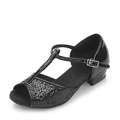 baratos Shall We® Sapatos de Dança-Mulheres Sapatos de Dança Glitter Sapatos de Dança Latina / Dança de Salão Sandália Salto Baixo Não Personalizável Preto / Prateado / Dourado / Crianças / EU36