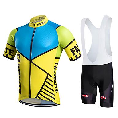 Fastcute Herrn Damen Kurzarm Fahrradtrikot mit Trägerhosen Geometrisch Fahhrad Bib - Shorts/Kurze radhose MIT Trägern Trägerhose/Lange