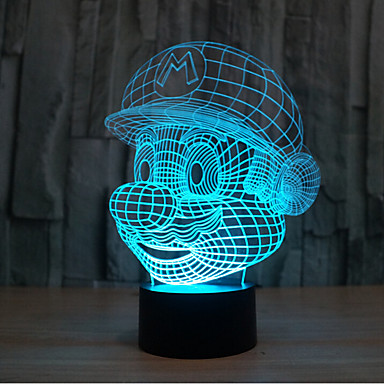 mario touch escurecendo luz led 3d luz 7colorful decoração atmosfera lâmpada novidade iluminação luz