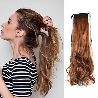 18 inch Bordeaux #P6G.9G # M2 / 30 # M2 / 33 # M4 / 30 Clip-in Natuurlijk golvend Paardenstaart Synthetisch Haar stuk Haarextensies
