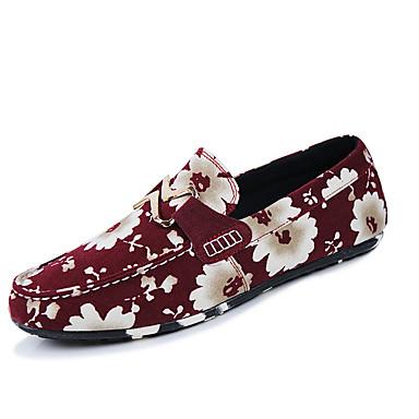 Homens sapatos Couro Ecológico Primavera Outono Conforto Mocassins e Slip-Ons Caminhada para Casual Preto Vermelho Azul