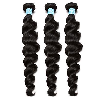 Brasiliansk hår Menneskehår Vevet Løse bølger Krøllete Weave Hårforlengelse 3 deler Svart