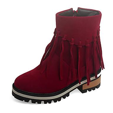 Dame Sko Fleece Høst Vinter Kampstøvler Trendy støvler Støvler Platå Glidelås Dusk Til Avslappet Formell Svart Rød Mandel