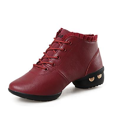 Mulheres Tênis de Dança / Sapatos de Dança Moderna Couro Botas / Têni Sem Salto Não Personalizável Sapatos de Dança Preto / Vermelho