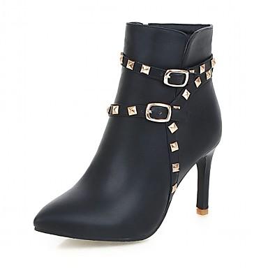 Hæle-Syntetisk laklæder Kunstlæder-Cowboystøvler Ankelstøvler Ridestøvler Modestøvler Motorcykelstøvler Combat-støvler-Dame-Sort Rosa