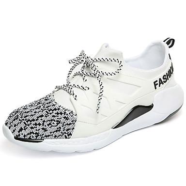 Herrer Sneakers Komfort Stof Forår Efterår Afslappet Komfort Snøring Flad hæl Hvid Sort Sort/Rød Flad