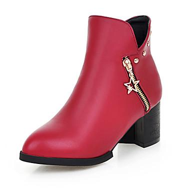 Støvler-Kunstlæder-Modestøvler-Dame-Sort Gul Rød Hvid-Udendørs Kontor Fritid-Tyk hæl