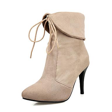 Støvler-Kunstlæder-Ankelstøvler / Modestøvler-Dame-Sort / Rød / Mandel-Formelt-Stilethæl