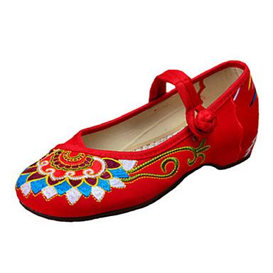 Dame Sko Kanvas Forår Sommer Efterår broderede sko Mary Jane Komfort Fladsko Gang Flade hæle Spænde Blomst for Afslappet Sort Rød Grøn