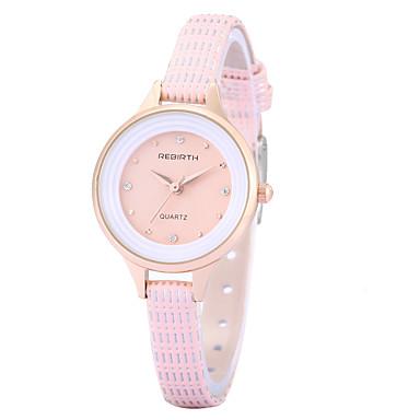 REBIRTH Dame Quartz Armbåndsur Imiteret Diamant PU Bånd Vedhæng Afslappet Elegant Mode Sort Hvid Rød Brun Pink
