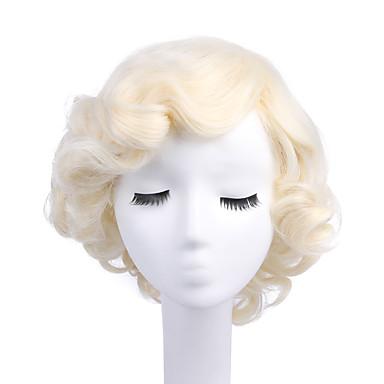 billige Kostymeparykk-Syntetiske parykker Kostymeparykker Krøllet Stil Lokkløs Parykk Blond Bleik Blond Syntetisk hår Dame Blond Parykk StrongBeauty