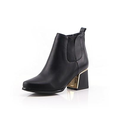 Feminino-Saltos-Botas de Cowboy Botas Montaria Botas da Moda-Salto Grosso-Preto Marrom Vermelho Bege-Sintético Couro Envernizado Courino-