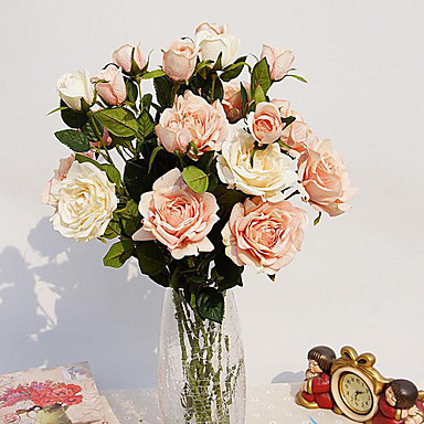 1 1 Ast Polyester / Kunststoff Rosen Tisch-Blumen Künstliche Blumen 29.9inch/76cm