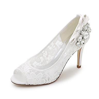 Mulheres Sapatos Sintético Primavera Verão Sandálias Salto Agulha Pedrarias para Casamento Social Festas & Noite Branco Preto Rosa claro