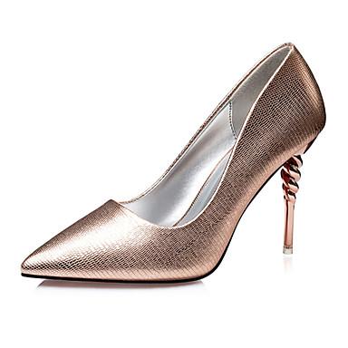 Damen Schuhe PU Sommer Sandalen Stöckelabsatz für Normal Büro & Karriere Schwarz Silber Champagner