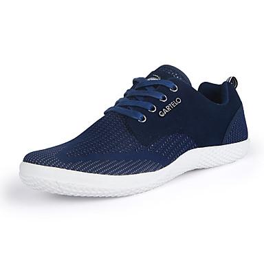 Herre-Semsket lær Tyll-Flat hæl-Komfort-Flate sko-Sport-Svart Blå Grå