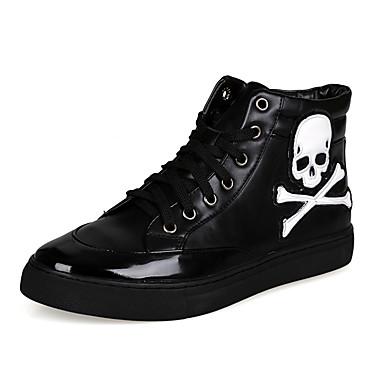 Sneakers-PU-Komfort Ankelstøvler-Herrer-Hvid Sort Sølv-Udendørs Fritid Sport-Flad hæl