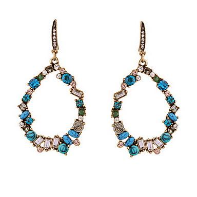Brincos Compridos Moda Jóias de Luxo Europeu Cobre imitação de diamante Forma Redonda Caído Azul Jóias Para Diário Casual 1 par