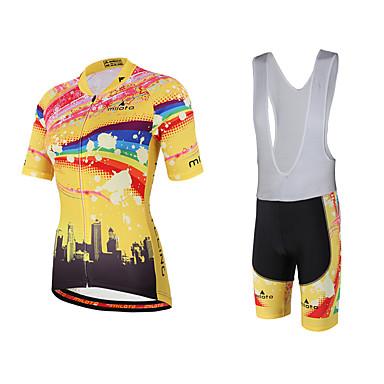 Miloto Mujer Manga Corta Maillot de Ciclismo con Shorts Bib - Amarillo Bicicleta Petos de deporte/Culotte con tirantes Pecheros/Mallas
