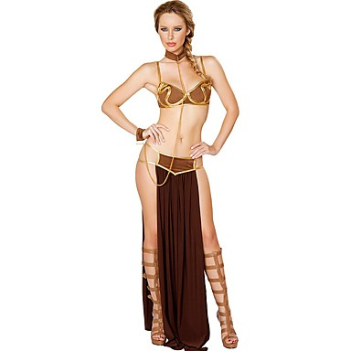 Conto de Fadas Fantasias Egípcias Deusa Cleópatra Fantasias de Cosplay Cosplay de Filmes Marron Blusa Saia Gravata Natal Dia Das Bruxas