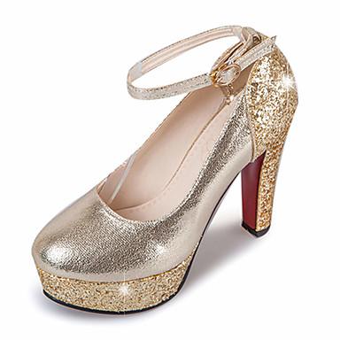 Feminino Sapatos Courino Primavera Verão Outono D'Orsay Plataforma Básica Saltos Salto Robusto Laço para Casamento Casual Social Festas &