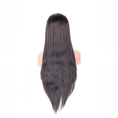 Gerçek Saç Örme Peruklar Gerçek Saç Ön Dantel Yoğunluk Düz Peruk Koyu Kahverengi Şort Orta Uzun