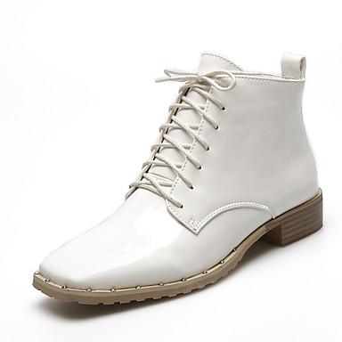 Naiset Kengät Kiiltonahka Kevät Syksy Talvi Maiharit Muotisaappaat Bootsit Leveä korko Solmittavat Käyttötarkoitus Kausaliteetti Puku
