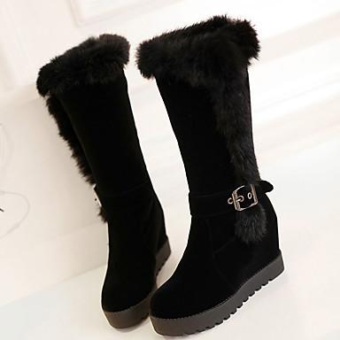 Feminino Sapatos Couro Ecológico Outono Inverno Botas da Moda Botas Plataforma Presilha Para Preto