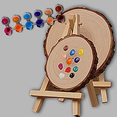 e-Home® personlig DIY håndtegnet naturtræ bryllupsgave - runde staffeliet (inkluderer 12 blækfarver) lille størrelse