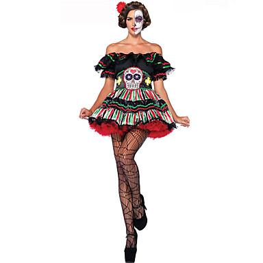 Cosplay Kostumer Festkostume Engel & Djævel Festival/Højtider Halloween Kostumer Blonde Vintage Kjole Bælte Halloween Karneval Oktoberfest